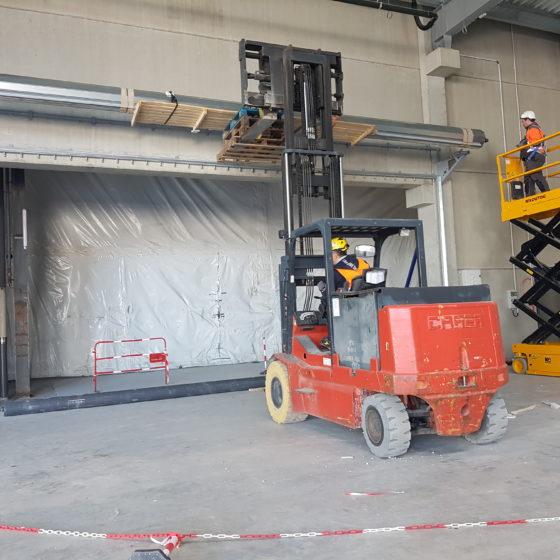 Pose du rideau HCM120 Gesop site Nestlé Waters